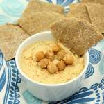flatbread dipped in too easy hummus