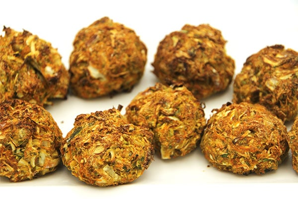 Baked veggie balls on white plate