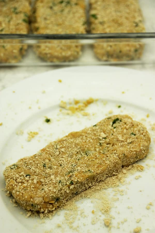 chickpea cutlets being prepared.