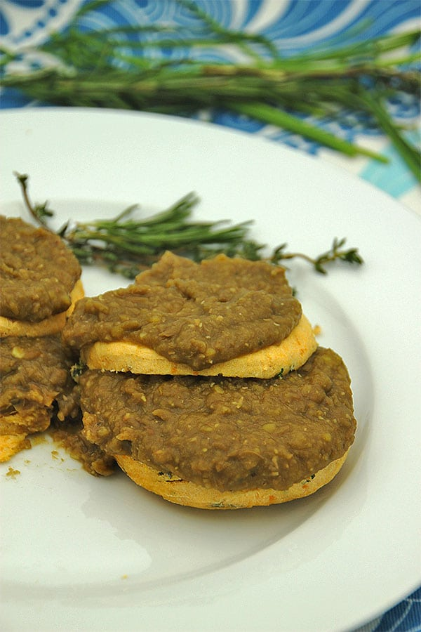 vegan biscuits are smothered in lentil gravy.