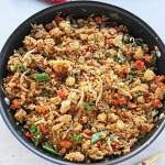 cauliflower fried rice in wok