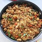 cauliflower fried rice in wok