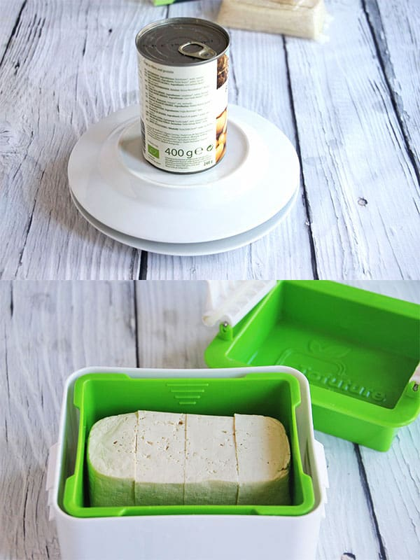 pressing tofu using a green tofu press or between 2 plates with an unopened can on top