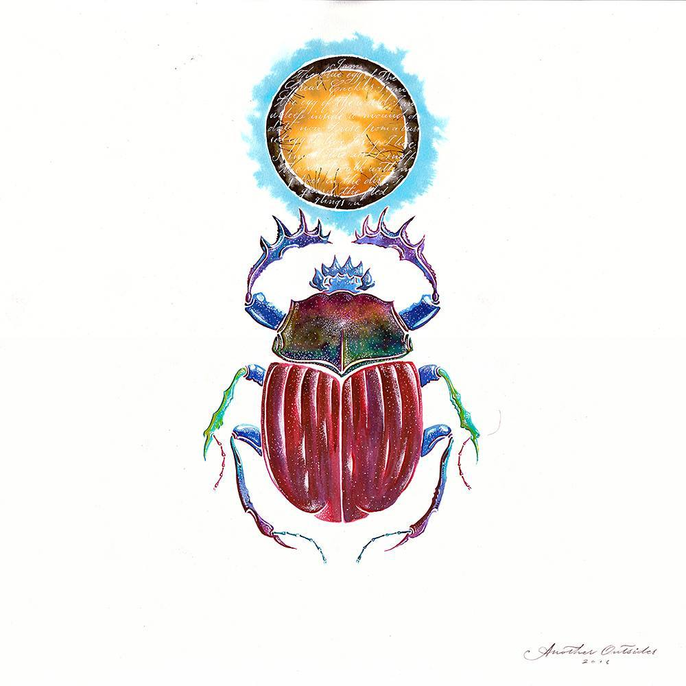 Egyptian scarab watercolor ilustration