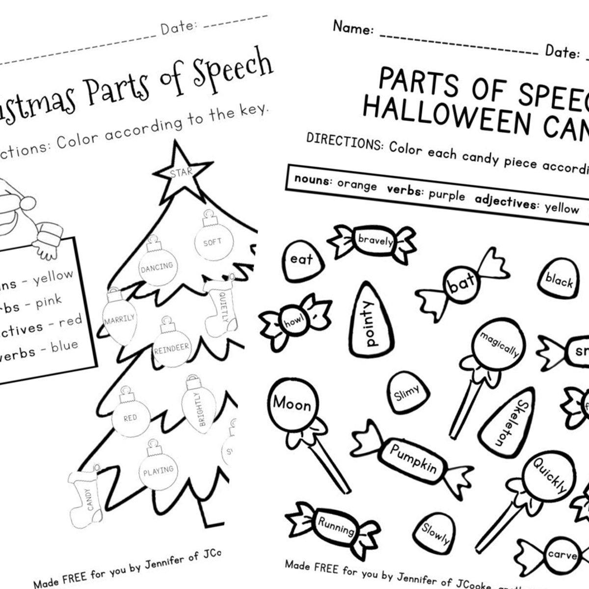 Free Parts Of Speech Worksheets Another Rawrsome Blog