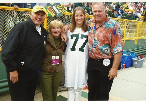 Fuzzy Thurston and Jerry Kramer pulled for my mom, Peggy and my daughter Katherine at the NFL season opener in 2006.