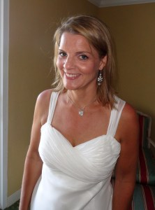 Here is Kathy and her eyebrows on her wedding day last year, six months before her diagnosis.