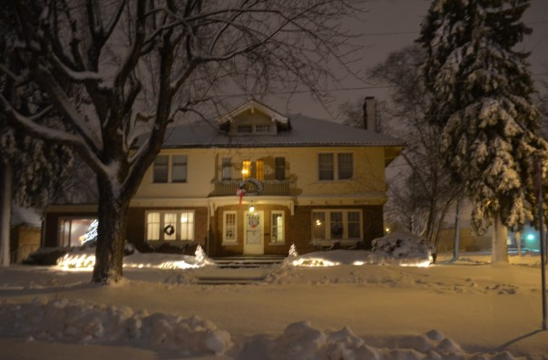 Our house, looking cozy in the cold
