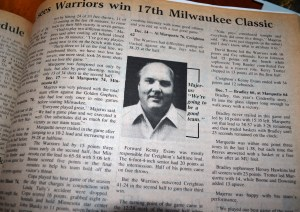"I really hope I wasn't the editor responsible for this boring bust out quote ""We're going to be good this year."" This is what the coach looked like in 1986. Go Warriors!"