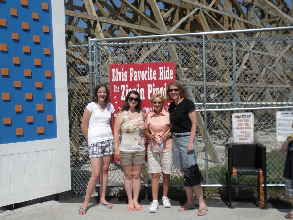 And here we are at the base of the Zippin Pippin in 2011. That's Molly, my niece Mari, my mom and me.