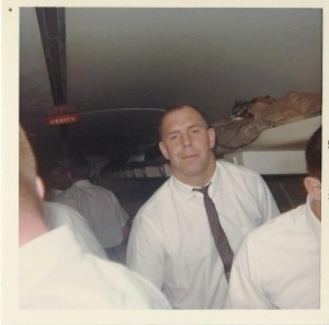 My dad shot this picture of Bob Skoronski on the plane home from the first Super Bowl.