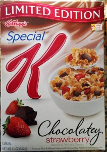 Saw this the other day and I thought it was spectacular. Chocolate covered strawberries in a cereal. Someone at Kellogs is using their noggin.