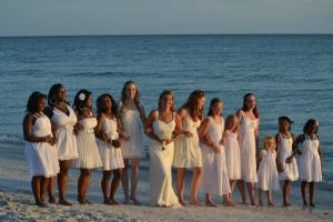 Girl power on the beach! My sister Kathy's wedding just added to the women who raised us.