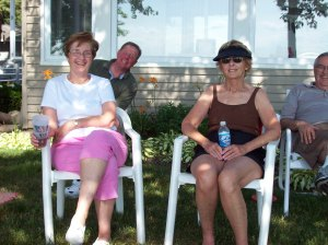 Aunt Doris and Grandma Peggy, with my crazy Uncle Mike photo bombing