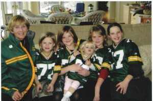 Grandma Peggy and her band of faithful packer granddaughters