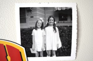 Saw this on Jeannie refrigerator when I stopped in for the rhubarb. That's me on the left stylin' a first communion dress with my friend Jeannie. Catholic girls have knobby knees