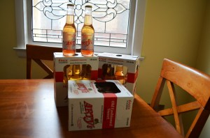 Our first purchase for our Wisconsin gift basket was these newly bottled six-packs of Brandy Old Fashioned Sweet, a purely Wisconsin drink. Bottoms up!