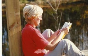...and here is her Grandma Peggy circa 1989 enjoying an afternoon on the banks of the Oconto River reading.