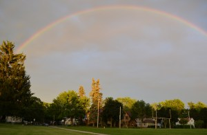 Just as I finished writing this post, this beautiful rainbow appeared over our house.