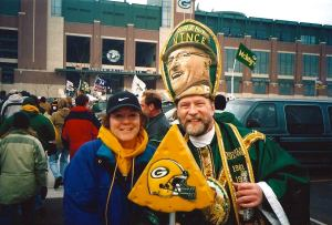 Our friend Rose posed with St. Vincent outside Lambeau Field.