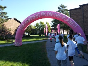 It really is the happiest 5K on the planet. This is the view approaching the first color chute.