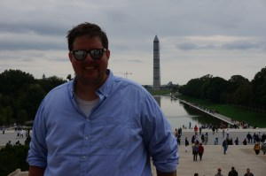 The Washington Monument  looks way taller in movies and photographs, but thanks to Jack's superior skills you can see it's actually shorter than me