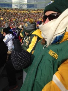This is the me that appeared on the Lambeau Field Jumbotron, shortly after a prolonged shot of the Packer Bikini Girls, a nice contrast I'm sure. Mr. Demille, I was not ready for my closeup. I am, however, fully protected from frostbite (and hopefully entirely unrecognizable).