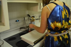 Georgie even through a little invincibility care, and allowed to safely cook in a nice dress