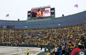 Here's a jumbrotron shot of Dave Robinsons receiving his Hall of Fame ring durinbg hakftime of the Packer game.