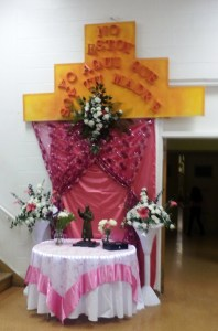 A colorful altar celebrating a beloved saint.