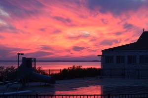 Sunset over the swiming pool