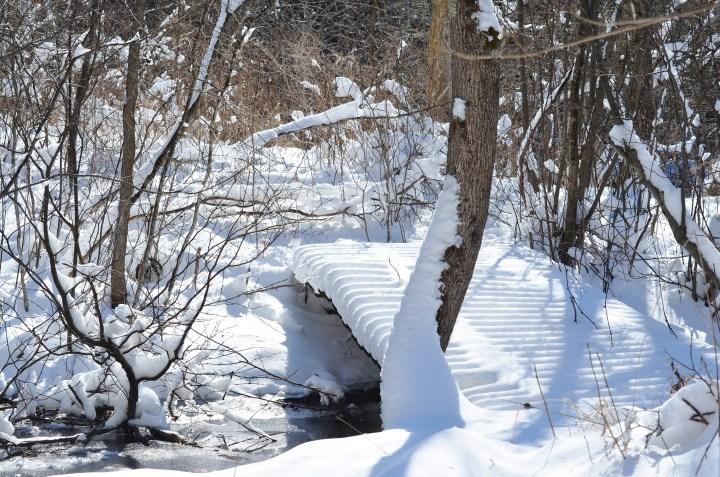 Snow covered bridge