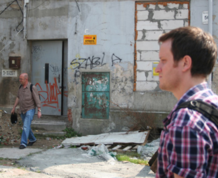 Mark Peter Wright in the ruins of Lódź Ghetto