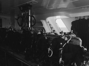 Scuba gear area on the boat
