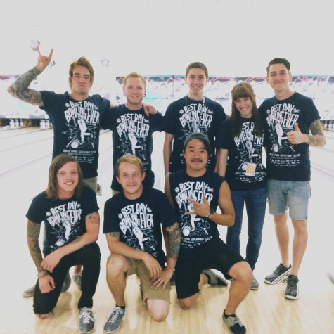 The bowling gang! Back: Andy (bassist), Dave (vocals), my brother Ryan, me, Joshua (guitarist), Lou (guitarist), Kiki (crew memeber), Eric (drums)