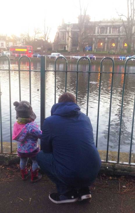 Eva enjoys the sights of Carshalton with Uncle Mike
