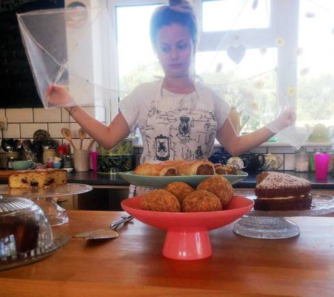 She looks way less excited by the cakes than I was!