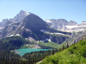 Grinnell Lake with glaciers in background, Glacier National Park, MT