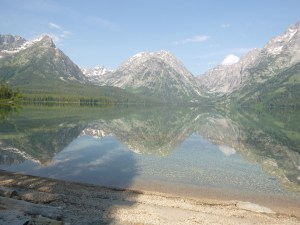 Teton Range reflected in Leigh Lake, Grand Teton National Park