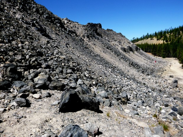 End of Great Obsidian Flow, nearly 150 feet above surrounding land, Newberry National Volcanic Monument, Oregon