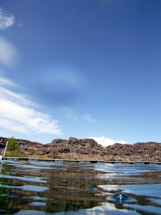 Docks and rocks from water level at Dierkes Lake, Twin Falls, Idaho
