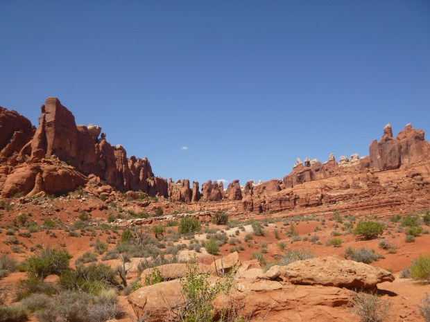View of the sandstone encircling the trail on the mesa, Tower Arch Trail, Arches National Park, Utah