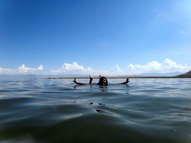 No hands or feet: me floating is the Great Salt Lake, Utah. Rachel (obviously) took this picture too.