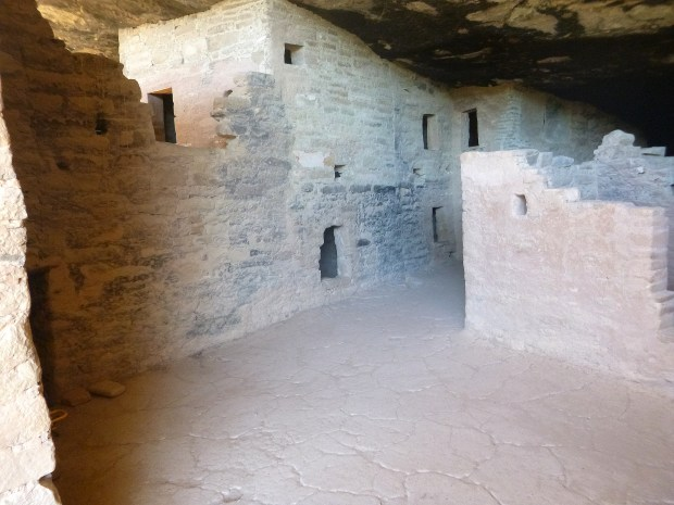 Inside of Spruce Tree House in shadow, 1211 - 1278 AD, Mesa Verde National Park, Colorado