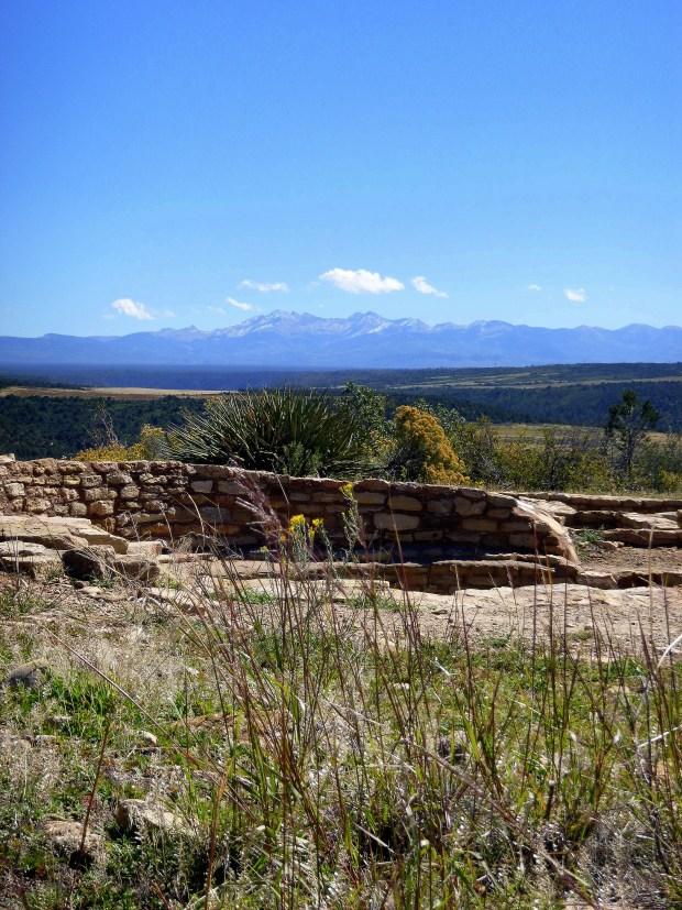 Kiva at Escalante Pueblo with Dolores Mountains in background, ca. 1120 AD, Anasazi Heritage Center, Colorado