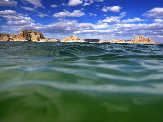 View of the opposite shore from the water, Lake Powell, Glen Canyon National Recreational Area, Arizona