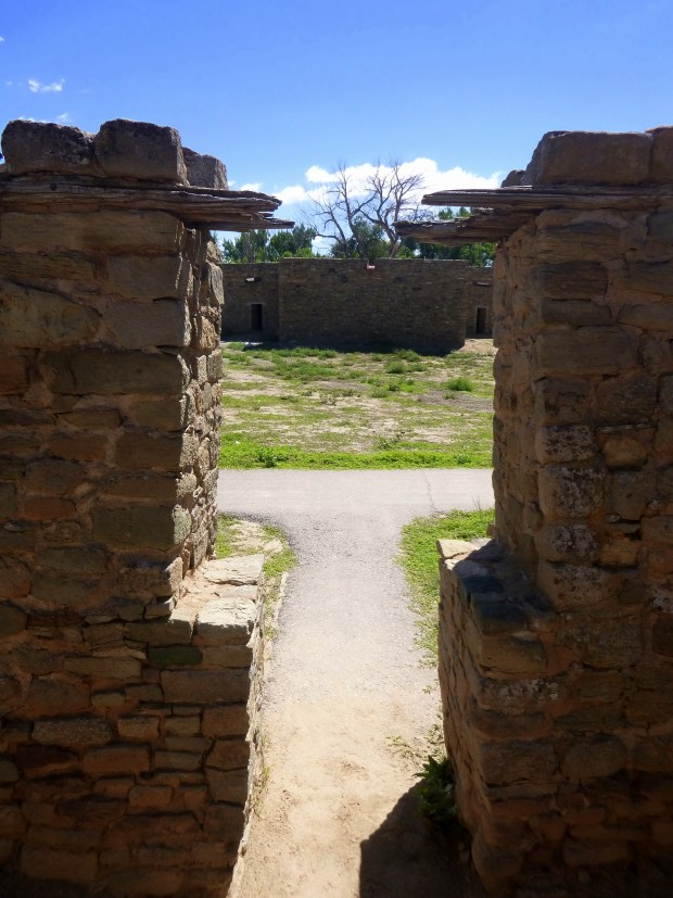 View through T-shaped door into courtyard, ca. 1080 - 1130 AD, Aztec Ruins, New Mexico