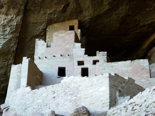 Closer view of left side of alcove, Cliff Palace, 1190 - 1260 AD, Mesa Verde National Park, Colorado