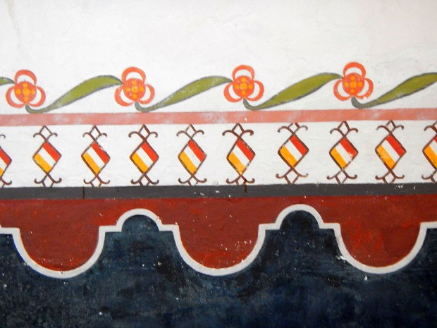 Detail of painted wall of nave, Mission San Luis Rey, California
