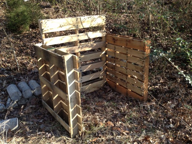 Beginnings of a compost bin made from recycled pallets